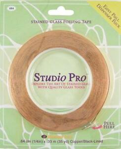 """STUDIO PRO STAINED GLASS 1/4"""" BLACK LINED COPPER FOIL IN DISPENSER PACK ROLL"""