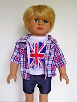 """Red and Blue Plaid 3pc Shorts Set Fits 18"""" American Boy or Girl Doll Clothes"""