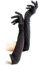 Long Black Satin Opera Gloves - Fancy Dress Ladies Flapper Accessory 20s