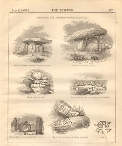 1856 ANTIQUE ARCHITECTURE PRINT- CROMLECHS AND INSCRIBED STONES, CORNWALL