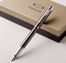 PARKER IM GUNMETAL FOUNTAIN PEN WITH CHROME TRIM-NO BOX