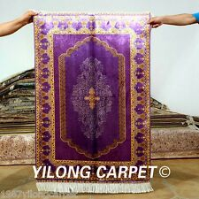 Yilong 2.7'x4' Purple Handmade Silk Area Rugs Hand knotted Oriental Carpets 0515
