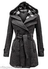 Women Check Hood Duffle Style Hooded Fleece Comfortable Belted Long Coat 007 Charcoal 20