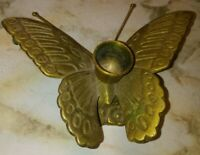 "Vintage Butterfly Candle Holder Solid Brass Heavy Detailed w/ Antenna 5"" MCM EUC"