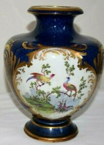 """Vintage Cobalt Blue/Gold/White Floral Peacock With Gold Accents Style 9"""""""