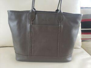 Longchamp Veau Foulonne Grey Pebbled Leather Tote Handbag