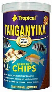 ~ Premium TROPICAL TANGANYIKA CICHLID Chips COLOUR ENHANCING FISH FOOD 30% Krill