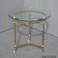 Vintage LeBarge Round Brass End Table Hoof Feet ~ Hollywood Regency Mid Century