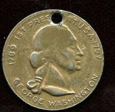 1789-1797  1st President U.S.A George Washington Gold Tone holed Coin/Medal