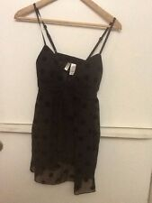Ambrielle Sexy Black Polka Dot Nylon Sheer Intimates Sleep Lingerie Set NWT S