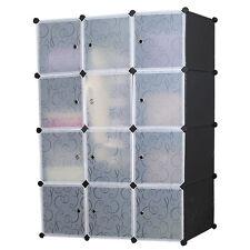 Stylish DIY 4 Tier White Doors 12 Cubes Cabinet Storage Wardrobe (Black)