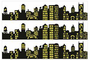Superhero City Skyline Edible Icing Ribbon Precut