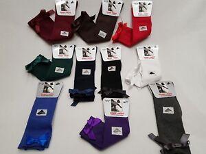 Girls bow Knee High Socks School Socks With Satin Bow all Size 1 Pair