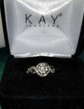$1299~Kay Jewelers 10k White gold 1/2ct Diamond cluster Engagement Ring