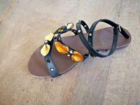 Cafè noir sandale cuir arancio platine NEUVE Val 129E Pointures 38,40