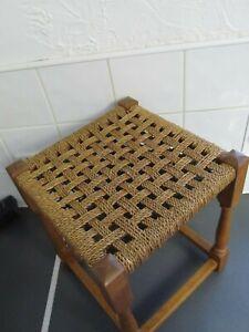 Vintage Original Woven Wicker? Stool Seat Wood Cottage 37cms high LOFT FIND