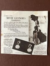 N1a Ephemera 1950s Ephemera Film Article Mitzi Gaynor Earrings