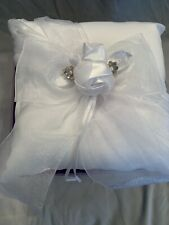 Ring Bearer White Satin Square Pillow with Rose and Bow Pearl, Rhinestone