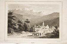 GAP vue générale HAUTES ALPES, petite gravure ancienne vers 1840