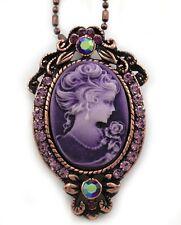 Purple Lavender Cameo Pendant Necklace Silver Tone Bronze Tone Metal Jewelry g1