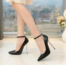 Womens Ankle Removable Strap Stiletto Ladies High Heels Pointy Toe Shoes Size