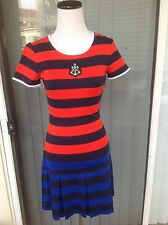 """New """"Juicy Couture"""" Size 2 Viscose Red Blue Black Stripes Summer/Spring Dress"""
