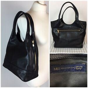 Marks & Spencer M&S COLLECTION Soft Black Leather Tote Bag Over Shoulder Handbag