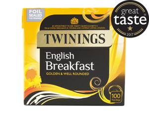 ☕TWININGS ENGLISH BREAKFAST 1 X 100 Tea Bags Teabags Black Cuppa Office Lunch☕