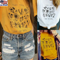 Womens Plant These Save The Bees T Shirt Summer Floral Short Sleeve Tops Blouse