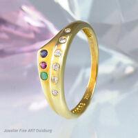 Ring in 750/- Gelbgold mit  6 Brillanten, 1 Saphir, 1 Smaragd und 1 Rubin