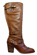 Belstaff Perforated Antique Cuero Leather Trialmaster 55 Boots Shoes EU Size 36