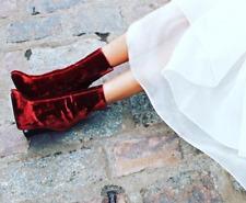 BNIB BNWT ZARA RED VELVET STYLE HIGH HEEL ANKLE BOOTS  UK 2 EU 35
