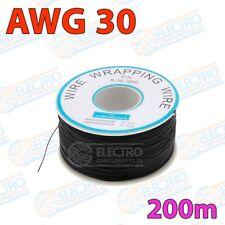 Bobina 200m Cable hilo AWG30 - NEGRO - Arduino Electronica DIY