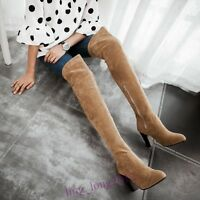 Winter Women Faux Suede Chunky heel Over the Knee High Knight Boots Plus Size