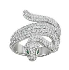 Sterling Silver Women's Fashion Band Ring 3.00ct Cubic Zirconia Wrap Snake 925