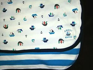 Just One You Baby AHOY MATEY Pirate Ship Stripped Blanket Lovey Cotton Carter's
