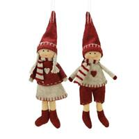 Set of 2 Light Gray and Red Boy and Girl Decorative Hanging Ornaments Gift Idea