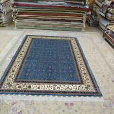 YILONG 6.56'x9.84' Blue Handknotted Silk Carpet Easy to Clean Indoor Rug YWX137A