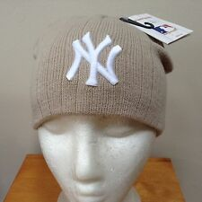 New york yankees slouch bonnet crème/beige bnwt gratuit uk p&p