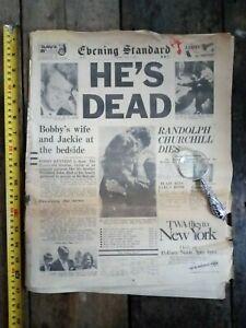 EVENING STANDARD NEWSPAPER JUNE 6, 1968 ROBERT KENNEDY SHOT DEATH