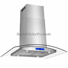 "New 36"" Island Stainless Steel Glass Range Hood Stove Vents Kitchen Cooking Fan"