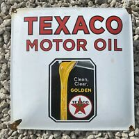 VINTAGE TEXACO MOTOR OIL PORCELAIN METAL SIGN USA LUBE GAS PUMP SERVICE STATION