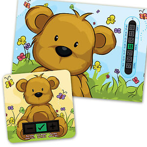 BABY ROOM THERMOMETER A5 BLUE BEAR & BEIGE BATH THERMOMETER SET