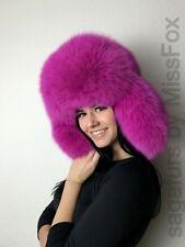 Shadow Blue fox full fur hat. Fluorescent pink.Saga Furs. S/M