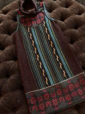 Soft Aztec Tribal Ikat Sweater Dress M Turquoise Red Black New W15