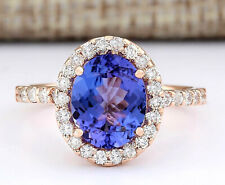 3.10 Carat Natural Tanzanite 14K Rose Gold Diamond Ring