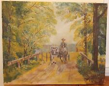 Vintage 1939 Signed Folk Art Oil Painting Farmer Horses Country Road E.R.Becker