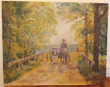 Vintage 1939 Signed Folk Art Oil Painting Farmer Horses Country Road E.R.Becker