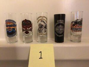 Harley Davidson Tall Shot Glasses Set Of 5