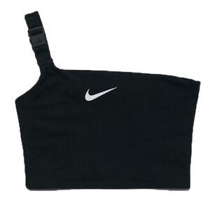 Womens Nike Single Strap Cropped Tank Top Bra NSW Crop Tanks Tops Black Size